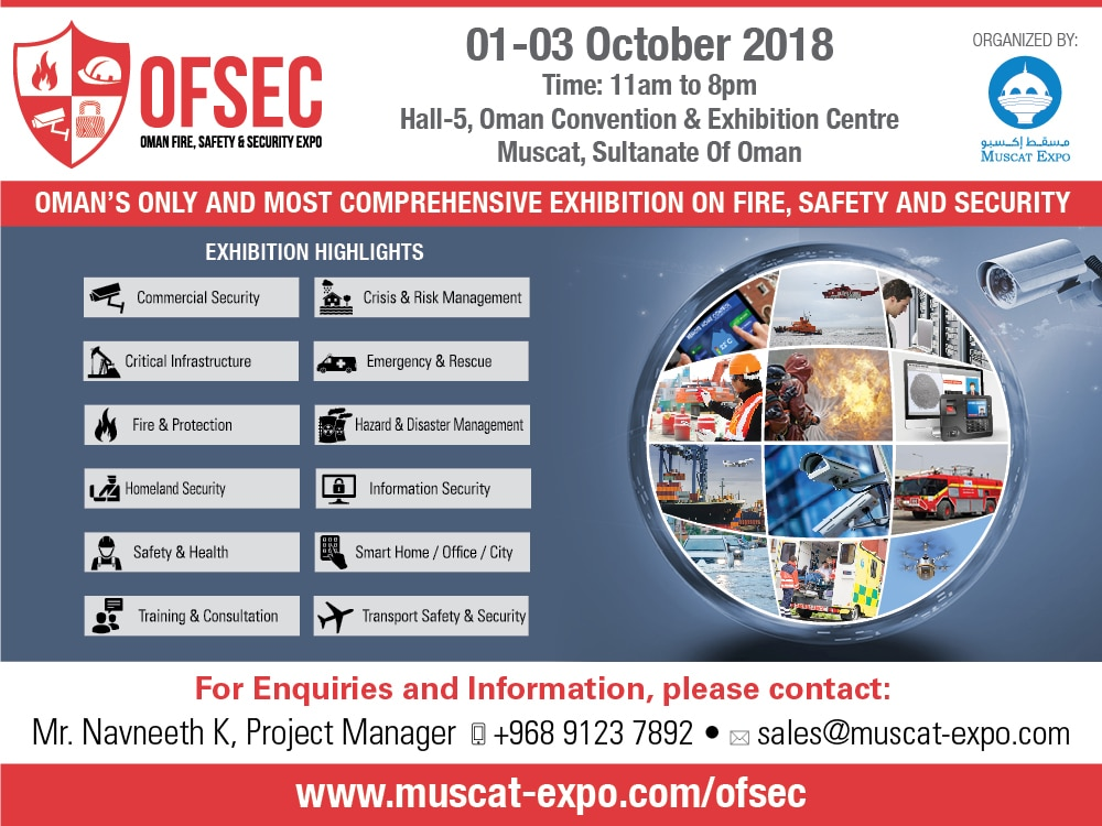 4th OFSEC – Oman Fire, HSE & Security Exhibition 2018