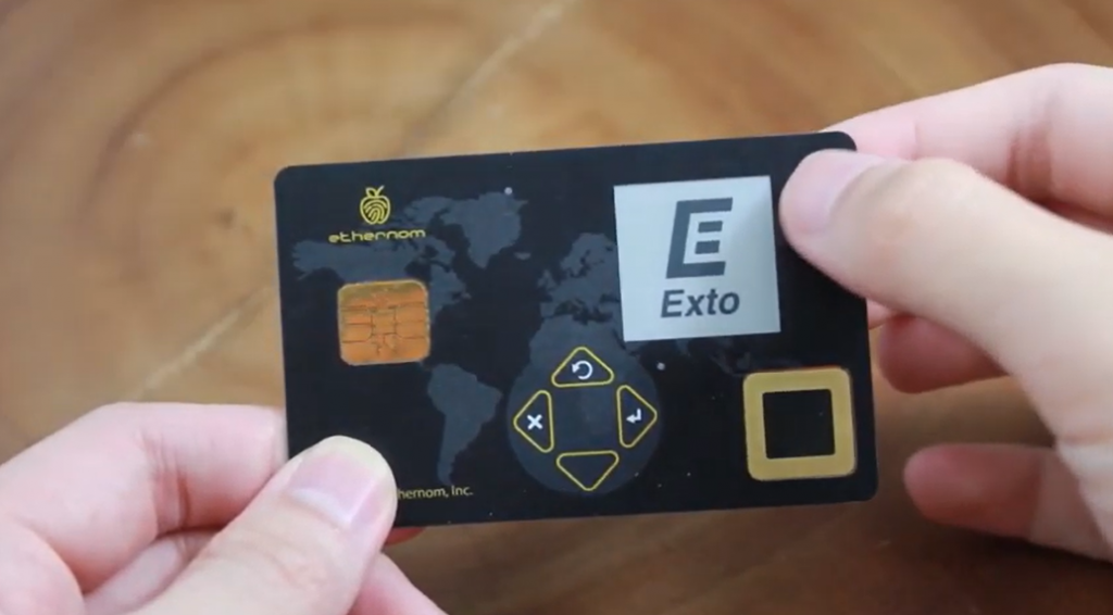 ExtoWallet's biometric card with FPC sensor and smartphone face recognition secures crypto assets