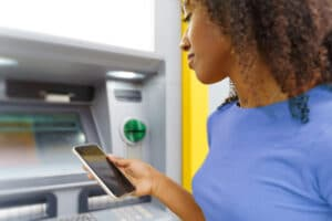 mobile phone at ATM